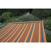 This high fashion quilted hammock is a reversible cushioned hammock constructed with two layers of weather-resistant, top quality Alia outdoor fabric. The top layer has an attractive striped pattern and the bottom layer a matching solid color, they are quilted over 10 oz. poly-fill fiber. Alia fabric is 100% acrylic and the softest hammock fabric sold; it is the best quality outdoor material on the market and proven the most durable in high-sun exposure usage.