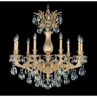 The baroque castings of Milano, made in Italy, feature delicate ornamentations that celebrate the heritage of the great Italian chandeliers of the seventeenth century. Heavy crystals enhance the lace-like precious metal body.