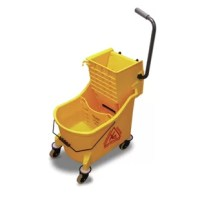 Ergonomic wringer handle helps reduce back strain by allowing you to wring from behind rather than the side; curved handle with grip allows you to easily steer the bucket.