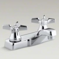 With practical design and solid brass construction, Triton faucets are an exceptional value. Competitively priced Triton faucets feature washerless ceramic valving, a durable Polished Chrome finish and vandal-resistant index buttons and aerator. The two-handle centerset faucet will hold up to years of daily use. Choose from a variety of handle style options.