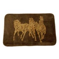 The stately Three Horses bathroom and kitchen rug portrays the dynamic scene of three handsome wild horses. Made from 100% acrylic, Three Horses is the perfect accent for your kitchen or bathroom sink. This rug is part of the larger Three Horses collection which features the iconic running horses in stylish neutral tones for an affordable statement of rustic luxury.