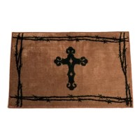 This Rug with vibrant chocolate border. This item is a great addition to any kitchen or bathroom.