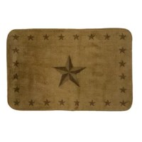 Robust Stars detail the outer edges and center of this Light Chocolate rubber backed Bath Rug adds a rustic touch to your bathroom.