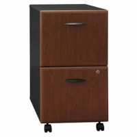 File drawers accommodate letter/legal size hanging files. Full-extension ball bearing slides allow full access to drawers. Four casters for easy mobility. Key lock. Locking one drawer will lock the other.