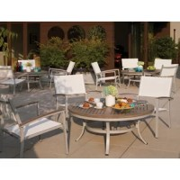 Update your outdoor space with this three-piece patio conversation set. It includes one dining table and two armchairs. The frame of the table and chairs is crafted from powder coated aluminum, while the table top is crafted from solid teak wood. This lightweight set is rust proof and weather resistant. Leg end caps provide protection from marring and scratching of surfaces. This set requires assembly upon arrival. The table measures 20.5'' H x 47'' L x 47'' W, while each chair measures 32'' H...