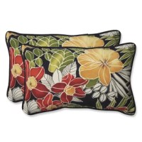 The colors and flowers of Hawaii wonderfully blend together with this spirited style addition. Set against a black background, green, red and maize bounce beautifully to create a robust pattern. Simply pair this set of two outdoor sets of two rectangular lumbar pillows with your décor for an inspired look.