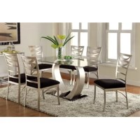 Lend an air of sleek style to your dining décor with this modern 7 Piece Dining Set. This piece showcases a rectangular tempered glass tabletop resting upon a gracefully curving pedestal. This table comfortably seats six, ensuring a great place for mealtime conversation with family and guests. The dining chair features a gleaming metallic frame with a decorative ladder back design for visual appeal. The seat is padded for comfort and tightly upholstered in microfiber fabric.