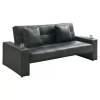 Stylish and functional. This modern style sofa bed in the black leather-like fabric is perfect for any family room or living room. Whether you are entertaining or have overnight guests, this sofa bed is ready to meet your needs. Featuring convenient built-in cup holders, decorative white stitching and two plush accent pillows.