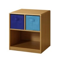 This nightstand has navy and light blue accents just right for your child's bedroom! The top of the unit is shaped and corners are eased so there are no sharp edges. The colorful ready-to-unfold canvas drawers are accented with handles attached on two sides of the drawers. These drawers are great for holding your games, controllers, clothes, toys or any of your storage needs. The drawers rest gently on the shelf and can be carried with the handles to take with you to any room in the house....