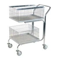 Quickly transport office mail and small package delivery throughout your office and warehouse with this double tray/double basket mail cart. 2 Removable, lift-out baskets make delivery, collection and filing of materials easy and convenient. Comes with 2 file folder hanger runners that can be adjusted for letter or legal size hanging files. Excellent mobility.