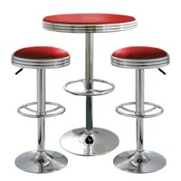 The Southampton Retro Red Soda Shop Bistro Set includes two adjustable height bar stools and one adjustable height bar table.  The polished chrome base and red vinyl seats are reminiscent of the days of diners and drive-ins. Add a hint of classic retro design to your kitchen, bar, game room, basement, or shop.The 3 Piece Adjustable Height Bar Set is comfortable for kids and adults to sit together.