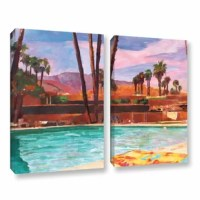 The Palm Springs Pool by Marcus/Martina Bleichner 2 Piece Painting Print on Gallery Wrapped Canvas Set canvas is a high-quality canvas print of a relaxing poolside in the California sun. It would make a relaxing addition to any home or office.