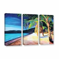 Magen'S Bay St. Thomas Virgin Islands by Marcus/Martina Bleichner 3 Piece Painting Print on Gallery Wrapped Canvas Set is a high-quality canvas print contemporary art, featuring a golden beach and swaying palm trees. It invites the viewer to travel and relaxation.