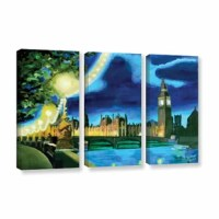 London Big Ben And Parliament With Thames by Marcus/Martina Bleichner 3 Piece Painting Print on Gallery Wrapped Canvas Set is a high-quality canvas print of the artist's impressionist take on the classic nighttime cityscape of London, England. A vibrant, urban and cultural addition to your home or office.