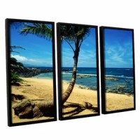 Palm Tree in Paradise by Kathy Yates 3 Piece Floater Framed Photographic Print on Canvas Set. This canvas allows you to take in the beauty of a beachfront without having to leave the room. As this canvas reproduction is gazed upon just try not to imagine yourself with the sand between your toes and the gentle touch of water rushing up the shore.
