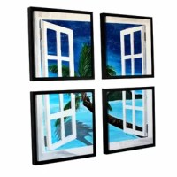 Palm View Window by Marcus/Martina Bleichner 4 Piece Floater Framed Painting Print on Canvas Set is a high-quality canvas print that opens up onto a pristine island ocean view. A relaxing, calm island addition to your home or office.