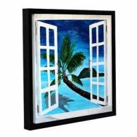 Palm View Window by Marcus/Martina Bleichner Floater Framed Painting Print on Gallery Wrapped Canvas is a high-quality canvas print that opens up onto a pristine island ocean view. A relaxing, calm island addition to your home or office.