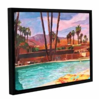 'The Palm Springs Pool' Floater Framed Painting Print on Gallery Wrapped Canvas is a high-quality canvas print of a relaxing poolside in the California sun. It would make a relaxing addition to any home or office.