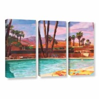 The Palm Springs Pool by Marcus/Martina Bleichner 3 Piece Painting Print on Gallery Wrapped Canvas Set is a high-quality canvas print of a relaxing poolside in the California sun. It would make a relaxing addition to any home or office.