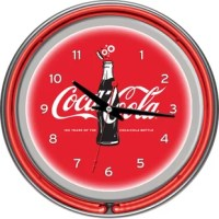 Celebrate the 100th anniversary of the iconic Coca-Cola bottle with an officially licensed neon clock. This impressive clock has not just 1 but 2 neon rings. It has an accent colored neon ring on the exterior and a brilliant white neon ring on the interior of the clock to light up your favorite logo. Other highlights include chrome finished resin housing and a high-grade glass clock face cover. The battery operated quartz clock mechanism will keep your new prize precise and ticking for a long...