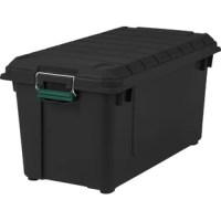 Weathertight storage tote with all-around seal to keep out moisture and pests. Metal