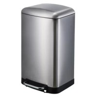 An elegant 30 liters (8 gallons) rectangular shape trash can with hands free operation and a quiet, slow close lid. The heavy duty, step anywhere steel tubular foot pedal will provide many years of trouble free use. The inner plastic bucket can be used with or without a trash bag and the stay open lid position and non-skid base allow for easy removal of trash. In brushed stainless steel with fingerprint resistant coating.