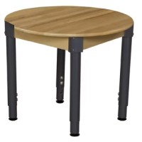 Solid hardwood birch tables are built to last. Full 3/4'' thick solid hardwood birch tops and durable adjustable legs make these tables a great selection for durability and value. Carefully rounded safety corners and edges keep your children safe and happy. Tuff-Gloss finish. Simple leg assembly required.