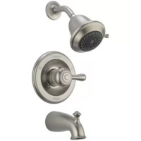 The classic teapot design of this Leland Single-Handle 3-Spray Tub and Shower Faucet Trim Only offers a variety of stylish faucet options for your bath. Getting ready in the morning is far from routine when you are surrounded by a bath that reflects your personal style. The shower becomes your private sanctuary where body sprays and shower heads work in perfect harmony. The Leland Bath Collection gracefully reinterprets the time-honored teapot design with decorative, traditional detailing. ...