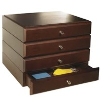 Organize desktop clutter with these Modular Wooden Desk Organizers. Kit contains 4 supply drawers. All units feature routed edges to stack securely. Effortlessly transform your office into a polished, orderly workspace. Easily rearrange the organizers as your needs change.