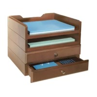 Organize desktop clutter with these Modular Wooden Desk Organizers. Kit contains 2 letter trays and 2 supply drawers. All units feature routed edges to stack securely. Effortlessly transform your office into a polished, orderly workspace. Easily rearrange the organizers as your needs change.