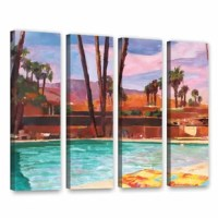The Palm Springs Pool by Marcus/Martina Bleichner 4 Piece Painting Print on Gallery Wrapped Canvas Set is a high-quality canvas print of a relaxing poolside in the California sun. It would make a relaxing addition to any home or office.