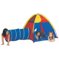 With its flexible functionality for indoors and outdoors, the Hide Me Play Combination Play Tunnel with Carrying Bag is a great way to keep your kids occupied. This play tent includes a tunnel. It can be either used together or separately. Made using polyester and fiberglass, this play tent is strong and durable. It has plastic flooring. The play tent and tunnel combination includes a carry bag for easy storage and transportation. It has a door with a hook & loop fastener closure. The Hide Me...