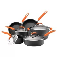 With bold pops of color and durable non-stick surfaces, the Rachael Ray 10 Piece Hard-Anodized Aluminum Non-Stick Cookware Set makes meal prep hassle-free and fun. The non-stick cookware set features hard-anodized construction that heats swiftly and evenly, and the pot and pan interiors are coated in durable non-stick for impeccable food release. Grippy handles on the cookware are rubberized for comfort and double riveted for strength, and shatter-resistant glass lids make it easy to monitor...