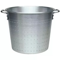 Aluminum colanders with base and handle provide stability and ease of use.