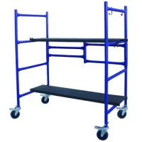 There are so many uses around the shop or home for the 4 Foot Roll and Fold Mini Scaffold you will wonder how you ever lived without it. Use the scaffold as a bench, platform cart or storage shelf. Two adjustable height steel deck boards with an individual weight capacity of 250 pounds can hold you, your tools, and supplies. Paint or renovate the inside or outside of your home, hang window blinds, and store paper and office supplies. The deck boards feature a non-slip finish to help provide a...