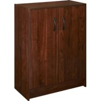 Keep craft supplies, books, magazines, and more neatly stowed away in this 2-door storage cabinet, featuring a dark cherry finish.