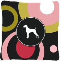 Approximately 14 inches by 14 inches measured from corner of pillow. 100% Polyester Fabric pillow Sham with pillow form. This pillow is made from new canvas type material and can be used indoors or outdoors. This is a coated canvas with a heavy hand. Mildew resistant, stain resistant, fade resistant and Machine washable. Made in the USA! These are all handmade and may vary slightly in size.