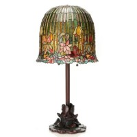 Inspired by the Tiffany classic, The Pond Lily. This lamp is absolutely majestic and will be an amazing addition to your home. The shade is crafted with 1,008 pieces of intricately hand cut glass and features a floral motif in bold shades of blue, green, amber and pink.