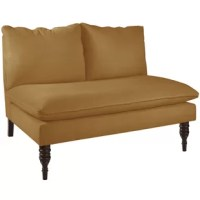 No matter the size of your space, this versatile and compact loveseat has your additional living room or bedroom seating covered. It's built on a solid pine wood frame, which supports up to 250 lbs. This loveseat features two turned front legs for traditional appeal, and a clean armless design that gives it a modern twist. Its topped with two back cushions and a bench-style seat cushion, which are upholstered in a solid-hued polyester fabric. Plus, this loveseat is made in the USA! ...