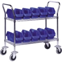 Mobile Quick Pick Wire Shelving Units come with a 2 shelf mobile cart and 4 bin package options.