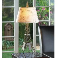 The metal wire frame mimics Paris most famous landmark, the Eiffel tower, fashioned in industrial-inspired metal with a vintage patina. The travel-stamped shade and French flourish on top make this lamp a continental charmer.