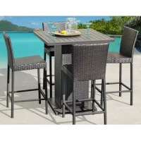 This inviting patio furniture setup is sure to make loved ones want to come over and spend some quality time. Rust-resistant aluminum frames wrapped in resin wicker make this 5-piece outdoor dining set stand up to all kinds of weather. The high-top table features a slatted aluminum tabletop on a wicker-wrapped pedestal base, with room to tuck the four high-back bar stools underneath to save space. The pub table stands 41.5'' tall, so you can easily sit or stand while you chat over drinks....