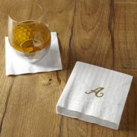 Create a signature soiree with these monogrammed cocktail napkins. Set of six. Each pack contains 20 napkins per set.