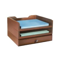 Organize desktop clutter with these Modular Wooden Desk Organizers. Kit contains 2 letter trays and 1 supply drawer. All units feature routed edges to stack securely. Effortlessly transform your office into a polished, orderly workspace. Easily rearrange the organizers as your needs change.