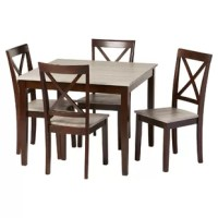 Create a space filled with character and style with the Tilley Rustic 5-Piece Dining Set. This set features a gorgeous rustic weathered wood-look tabletop that rests on espresso finished table frame. With the table, 4 coordinating dining chairs are also included, with the chair seats matching the table top's rustic weathered wood. The chairs combine an X - back chair design and espresso-finished tapered legs. With such a versatile palette, this set will easily work well with other furnishings...