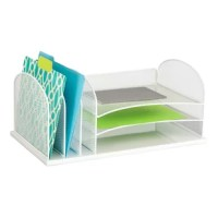 Organize your office with three trays for letter-size documents, plus three, upright sections on the left to fit file folders and small binders. Perfect for desk storage that can be easily accessed.