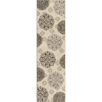 Layout the foundation for a beautiful, traditional ensemble in your home with this gorgeous area rug. Covered in an artistic medallion design in ivory and complementing neutral hues, this gorgeous polypropylene rug instantly adds pattern, dimension, and warmth to any space. Roll it out in your classic kitchen ensemble to elevate a bistro dining set, and then complement it with earthy accents and faux florals for a lush and refined arrangement. Make it the base to your master suite bedding...
