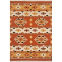 This collection features traditional southwestern and tribal designs using vibrant orange, gold, black, white and brown, colors on a flat weave rug. This Handwoven Flatweave Wool Orange/Yellow Area Rug is hand woven in India of 100% Wool on a cotton foundation.