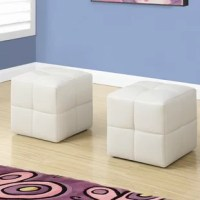 Give your little ones a comfy place to sit and rest their feet with this fun-sized 2 pieces ottoman set. Upholstered in white easy-care material, clean up has never been so simple! A great addition to storytime, these ottomans provide extra seating while adding a touch of modern flair to any bedroom or playroom. Comfortably padded and built to last, these ottomans are a must-have for any child.