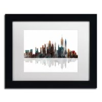 This ready to hang, matted framed art piece features a painting of New York City's skyline with colorful paint dripping down the buildings. Giclee (jee-clay) is an advanced printmaking process for creating museum quality fine art reproductions. This high quality print is matted and comes in a wood frame. A clear acrylic facing is added to protect the print. The piece is fully assembled by professional framers and comes ready to hang. The decorative mat allows the image to really stand out...
